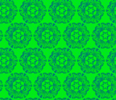 Vector ornament seamless pattern wallpaper, flower with a star in green
