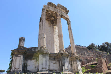 In the ancient city of Rome stands the temple of Saturn, visible today in the imperial forums.