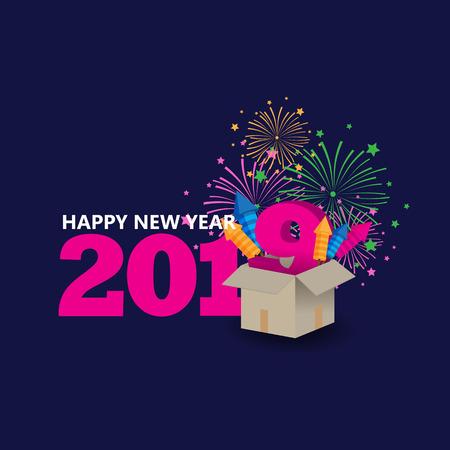 happy new year with blue background Vektorgrafik