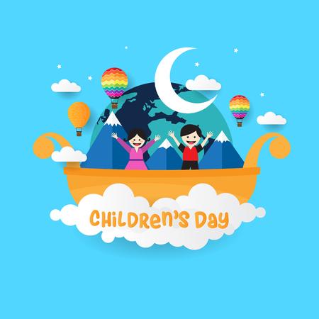 Design creativo per la giornata dei bambini felici Vettoriali