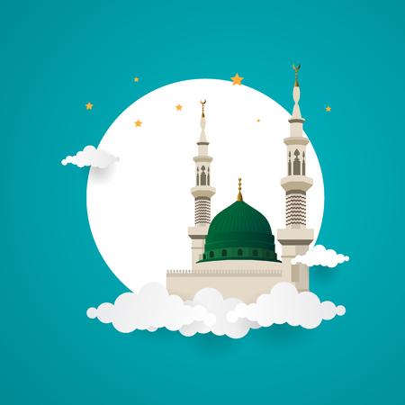Cúpula verde de la mezquita del profeta muhammad