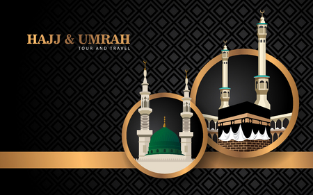 hajj and umrah banner concept with luxury design and mosque