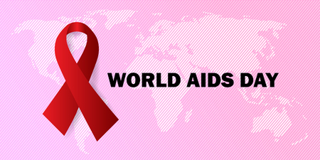 world aids day banner with ribbon  イラスト・ベクター素材