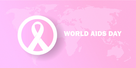 world aids day creative banner with pink color