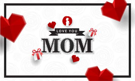 love you mom creative background with origami love