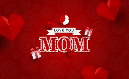 love you mom with red color