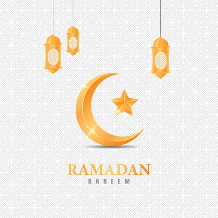 ramadan kareem with moon and lantern