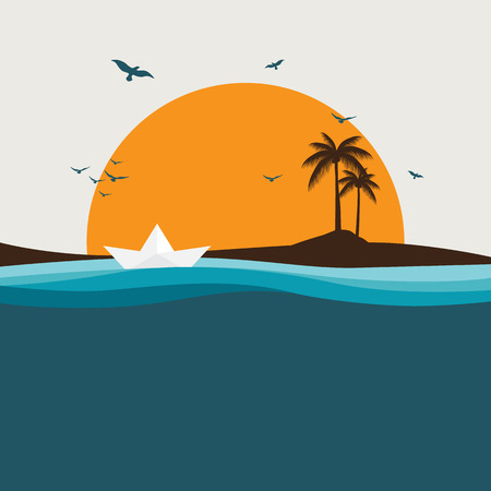 happy summer day with sea and sun for banner, background, poster etc.