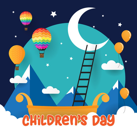 Children day background concept vector with fantasy concept  イラスト・ベクター素材