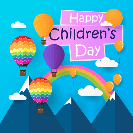 happy childrens day with paper style
