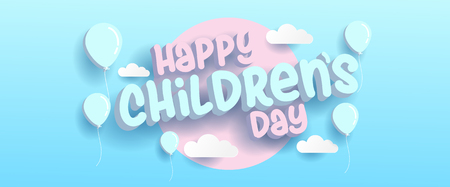 Happy Childrens day banner with 3d