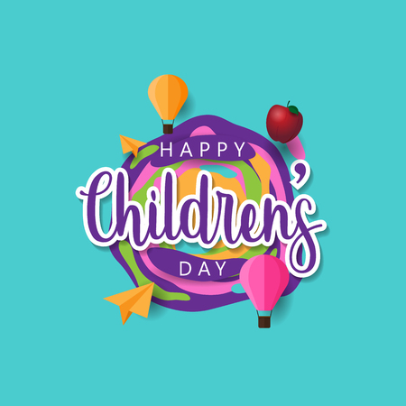Happy Childrens day background with colorful design  イラスト・ベクター素材