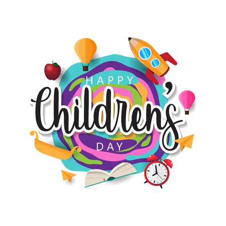 happy childrens day creative background vector