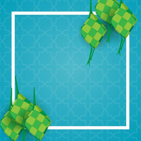eid background with ketupat or rice dumpling