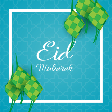 happy eid mubarak with ketupat or rice dumpling, indonesian food for celebrating eid
