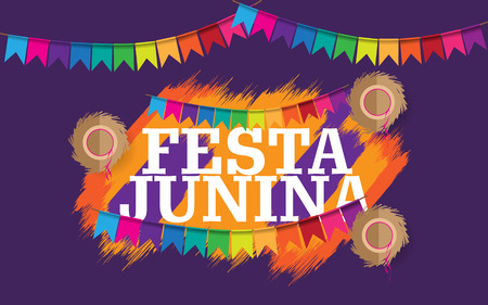 Festa junina creative background with colorful  イラスト・ベクター素材