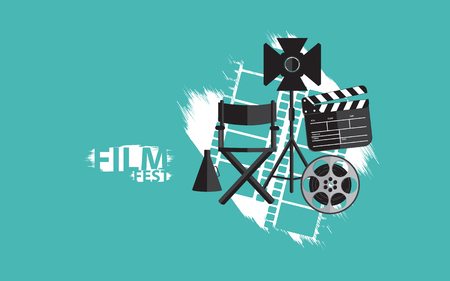 film festival creative background with movie set 写真素材 - 122379231