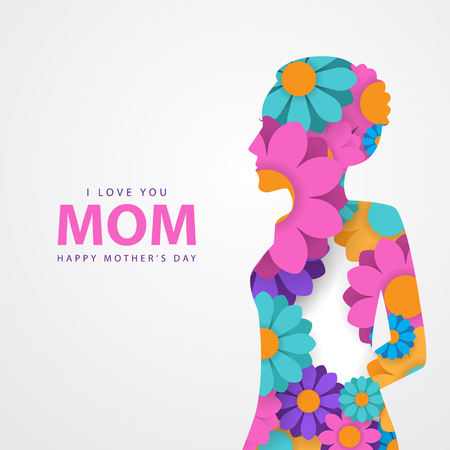 mothers day greeting with white background
