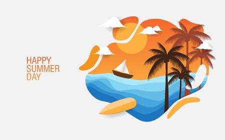 feliz día de verano fondo creativo para banner, impresión, etc.