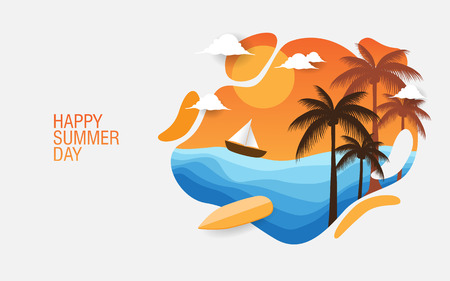 happy summer day creative background for banner, print etc.  イラスト・ベクター素材