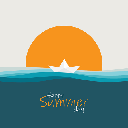 happy summer day background vector  イラスト・ベクター素材