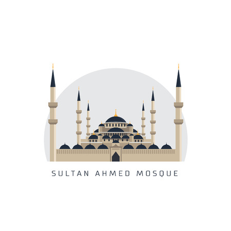 sultan ahmed mosque vector illustration  イラスト・ベクター素材