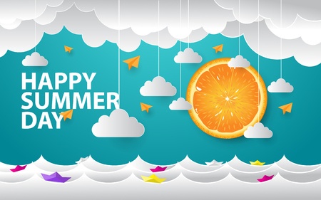 happy summer day creative background with realistic orange  イラスト・ベクター素材
