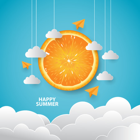 Happy Summer day background with paper style and realistic orange
