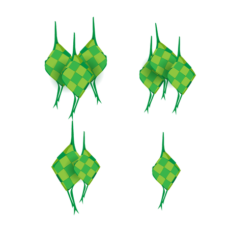 ketupat vector , or rice dumpling is indonesian traditional food for eid  イラスト・ベクター素材