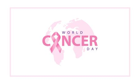 world cancer day with ribbon and globe with pink color