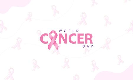 world cancer day with ribbon and pattern background