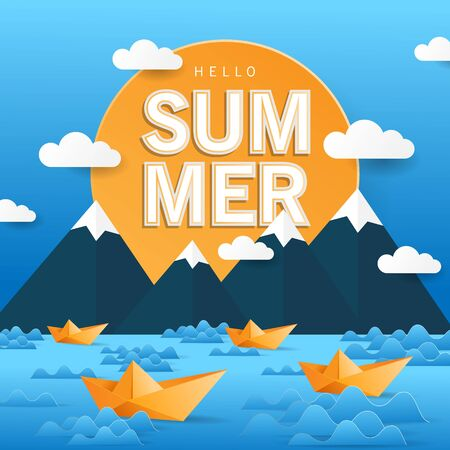 hello summer, happy summer day background with paper art style