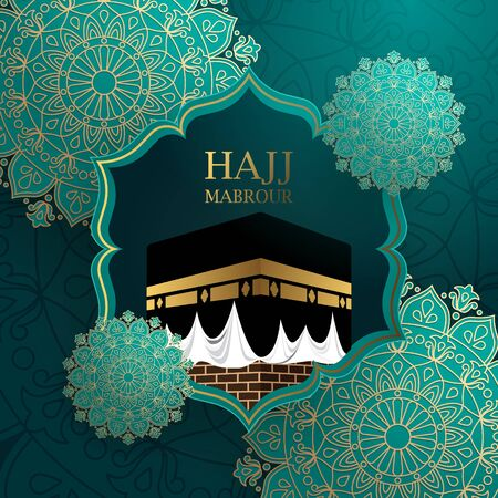 Hajj barour background with kaaba and ornament