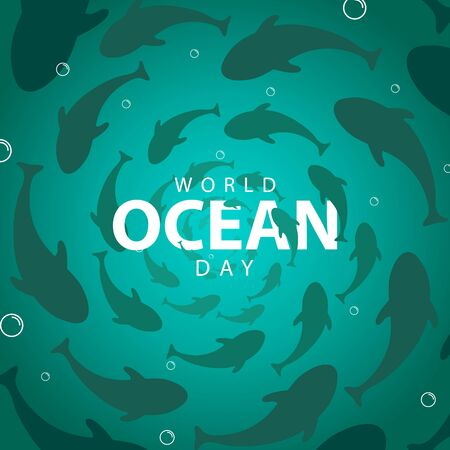 world ocean day with sea and fish background