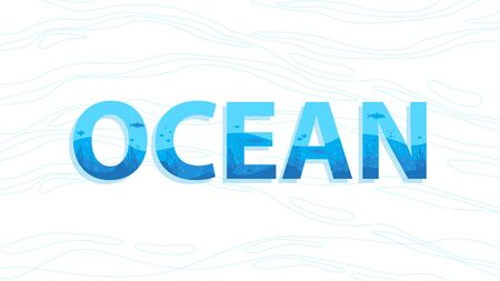 Ocean typography with aquatic concept