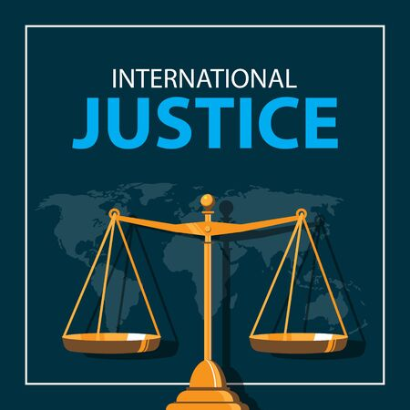 international justice day with balance illustration