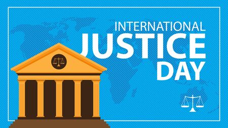 international justice day background with court building  イラスト・ベクター素材