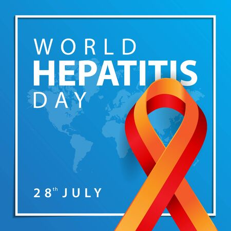 world hepatitis day background with map and ribbon  イラスト・ベクター素材