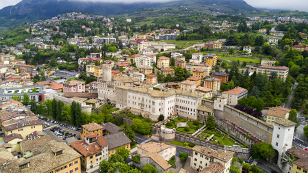Shooting with drone on Trento, famous Trentino city near the Adige river in northern Italy