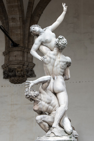 Statue of Rape of the Sabines, Loggia de Lanzi in Piazza della Signoria in Florence