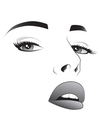 sketch of a pretty woman face in black and white Vector