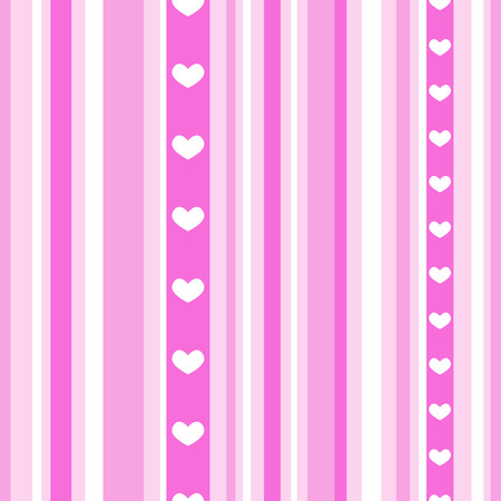 Seamless pink stripes with hearts Illustration