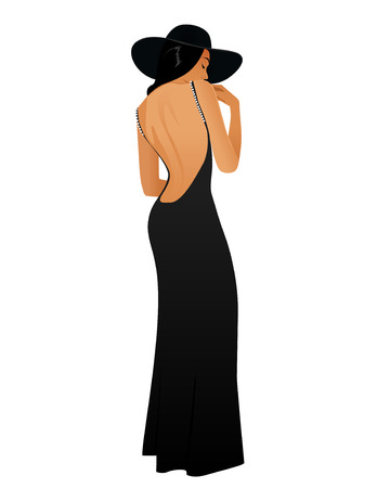 Girl in a long black dress wearing a hat Vector