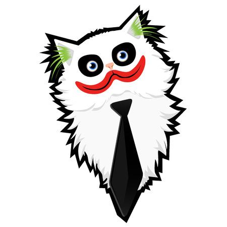 Funny caricature cartoon Cat-Joker Illustration