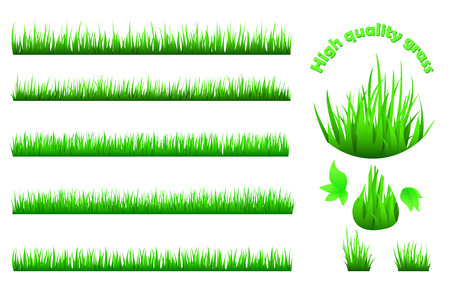 untidy: High quality green grass set Illustration