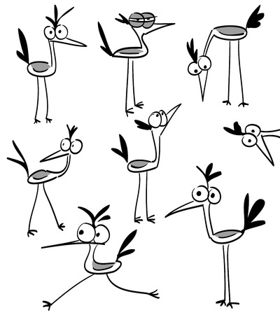 Funny bird character in different variations in black and white Illustration