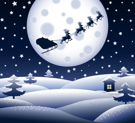 Peaceful blue Christmas landscape with Santas team silhouette Vector