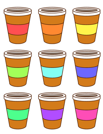 wit: A set of cardboard coffee cups wit colored packing