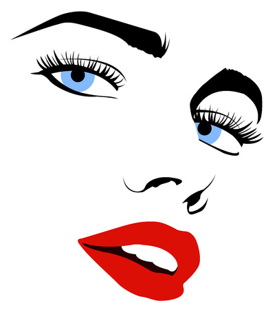 Vector sketch of a pretty woman face in black and white Illustration