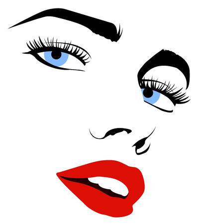 sorriso donna: Vettore schizzo di un volto di donna bella in bianco e nero Vettoriali